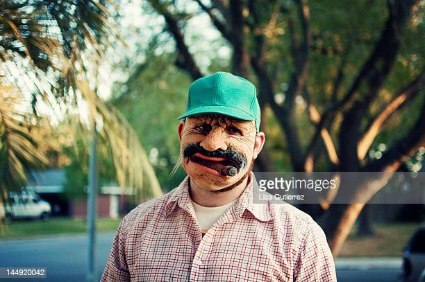 old man mask face - trucker's hat stock pictures, royalty-free photos & images