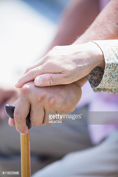 Old man of Japanese hold the cane