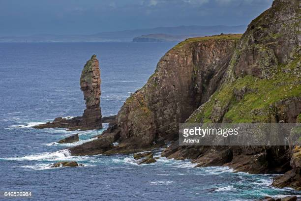 Old Man of Stoer 60 metres high sea stack of Torridonian sandstone at the Point of Stoer in Sutherland Scottish Highlands Scotland