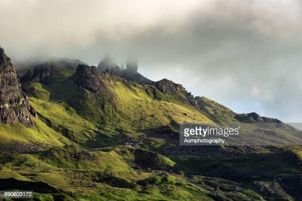 Old man of storr under cloud sky, Isle of Skye