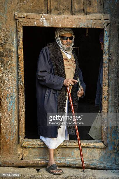 Old man on a doorway, Sanaa, Sanaa Governorate, Yemen