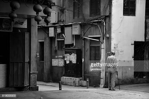 Old man on Enning road, Guangzhou, China