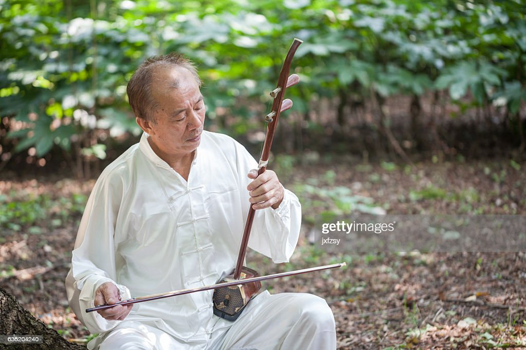 old man playing chinese traditional erhu : Stock Photo