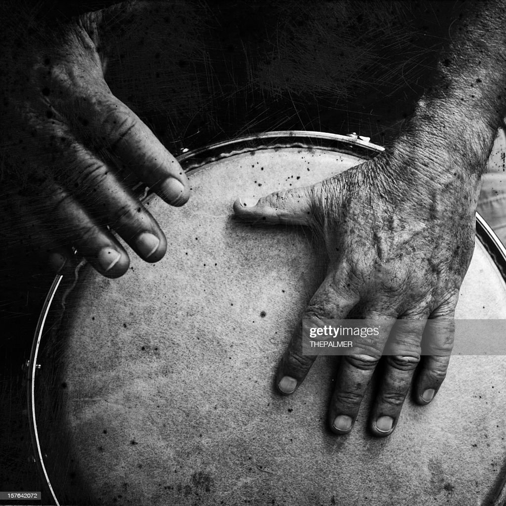 old man playing congas : Stock Photo