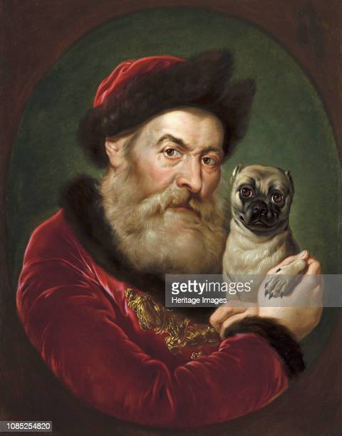 Old man with a Pug circa 1740 Private Collection