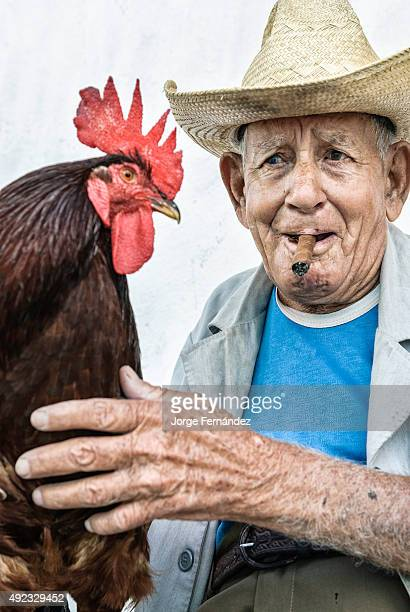 Old man with straw hat holding a rooster on his leg