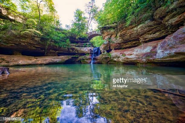 old man's cave at hocking hills state park - ohio stock pictures, royalty-free photos & images