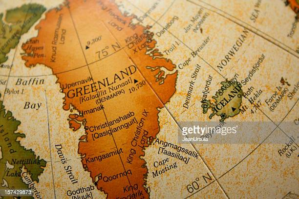 old map depicting greenland and iceland - greenland stock pictures, royalty-free photos & images