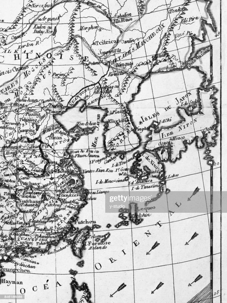 Old map east asia stock photo getty images old map east asia stock photo publicscrutiny Gallery