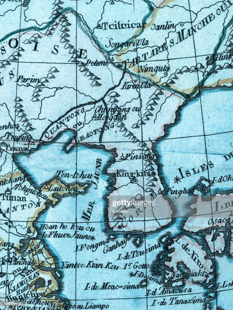 Map Of Asia Korean Peninsula.Old Map Korean Peninsula And East Asia Stock Photo Getty Images