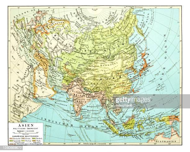 old map of asia continent - world map stock pictures, royalty-free photos & images