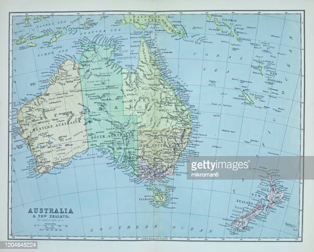 old map of australia continent published 1894. antique illustration, popular encyclopedia published 1894. copyright has expired on this artwork - logo stock pictures, royalty-free photos & images