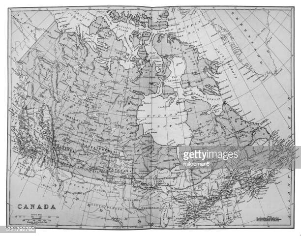 old map of canada published 1894. antique illustration, popular encyclopedia published 1894. copyright has expired on this artwork - kanada photos et images de collection