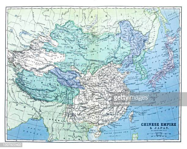 old map of chinese empire and japan, published 1894. antique illustration, popular encyclopedia published 1894. copyright has expired on this artwork - treasuregold stock pictures, royalty-free photos & images