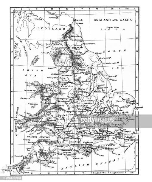 old map of england and wales - the past stock pictures, royalty-free photos & images