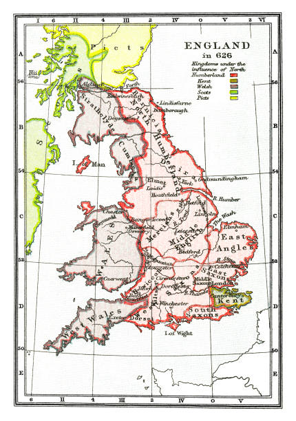 Old map of England in 626