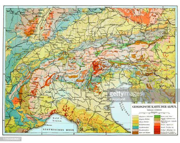 old map of geological of the alps - kartographie stock-fotos und bilder