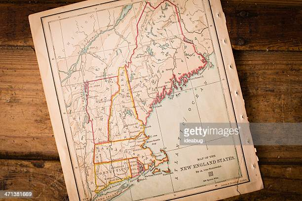 Old Map of New England States, Sitting Angled on Trunk
