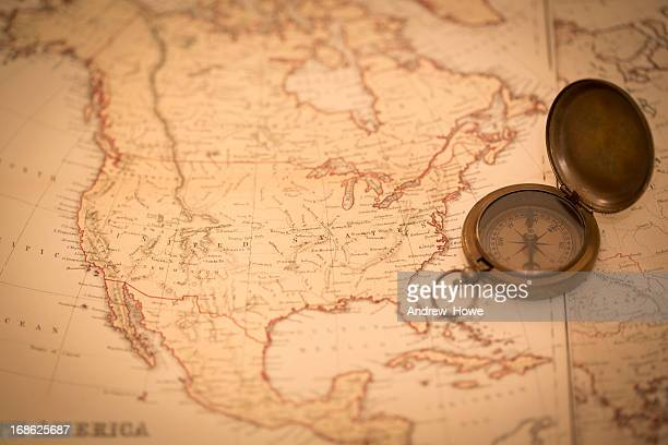 Old Map of North America and Compass