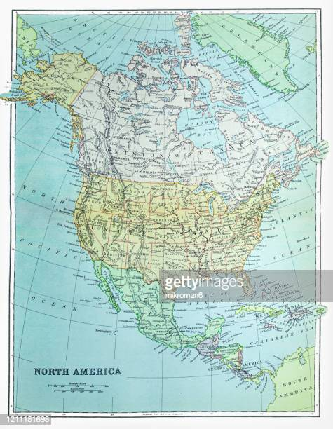 old map of north america published 1894. antique illustration, popular encyclopedia published 1894. copyright has expired on this artwork - canada stock pictures, royalty-free photos & images