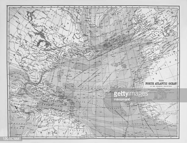 old map of north atlantic ocean, published 1894. antique illustration, popular encyclopedia published 1894. copyright has expired on this artwork - map stock pictures, royalty-free photos & images