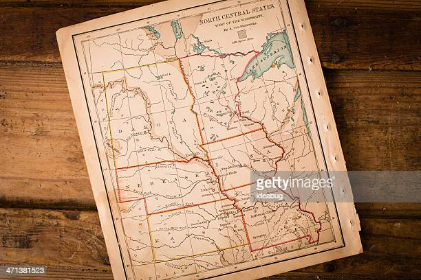 Old,  Map of North Central States, Sitting Angled on Trunk