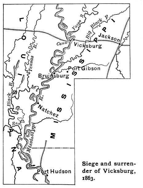 Old map of siege and surrender of Vicksburg (1863)