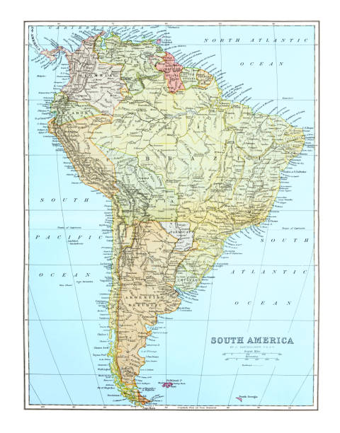 Old map of South America continent, Published 1894.