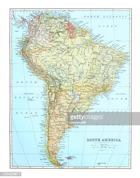 old map of south america continent, published 1894. - las américas fotografías e imágenes de stock