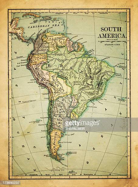 old map of south america - south america stock pictures, royalty-free photos & images