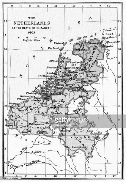 old map of the netherlands at the death queen elizabeth i of england in 1603 - british royal family stock pictures, royalty-free photos & images