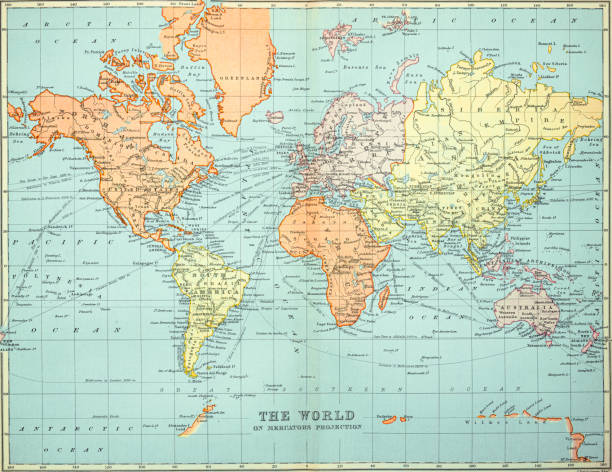 Old map of the World Map, Published 1894.