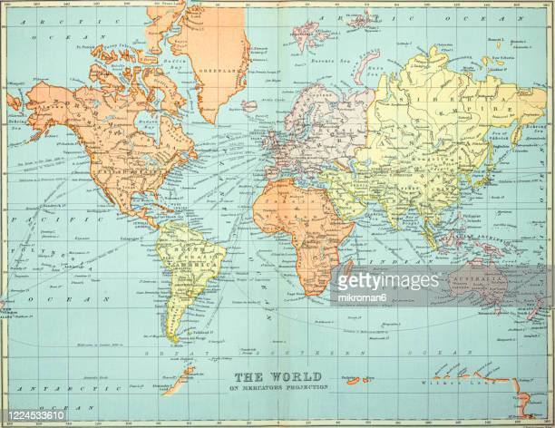 old map of the world map, published 1894. - archival stock pictures, royalty-free photos & images
