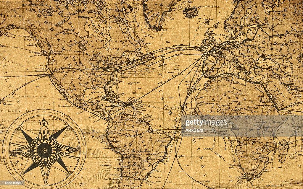 Alte Karte der Welt : Stock-Foto