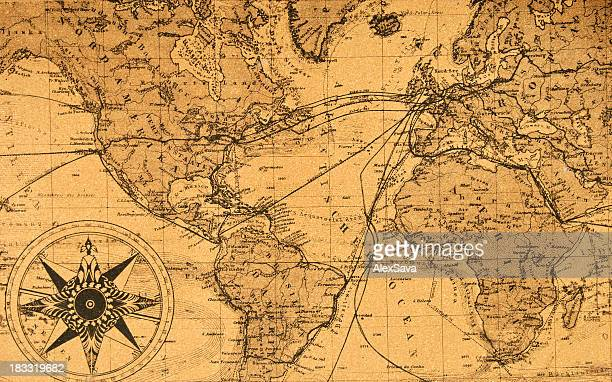 old map of the world - world map stock photos and pictures