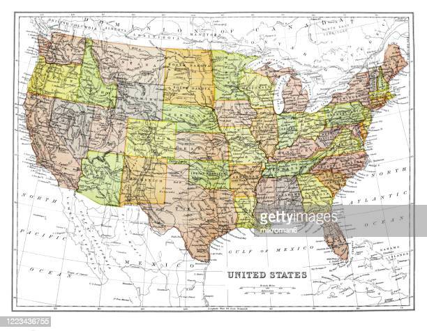 old map of  united states, published 1894. - usa stock pictures, royalty-free photos & images
