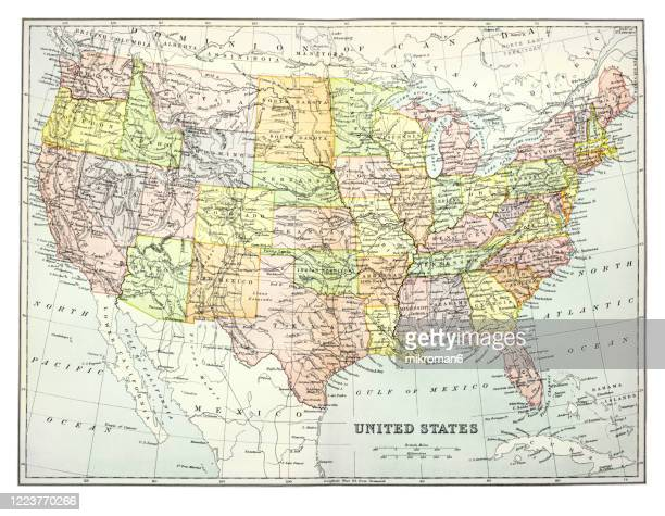 old map of  united states, published 1894. - gulf coast states stock pictures, royalty-free photos & images
