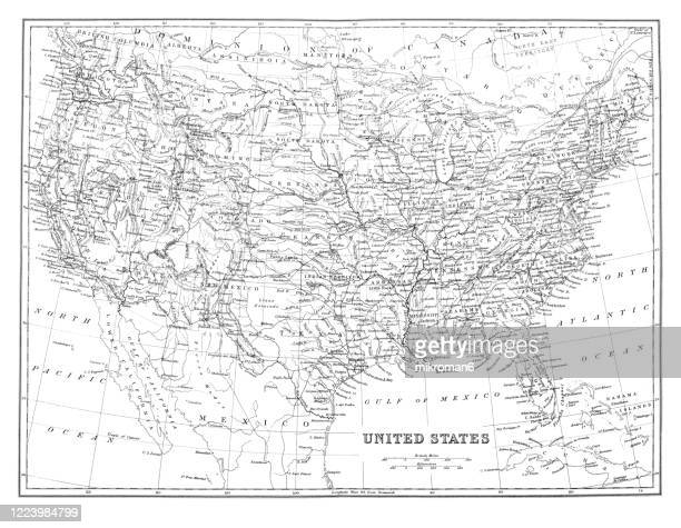 old map of  united states, published 1894. - old fashioned stock pictures, royalty-free photos & images