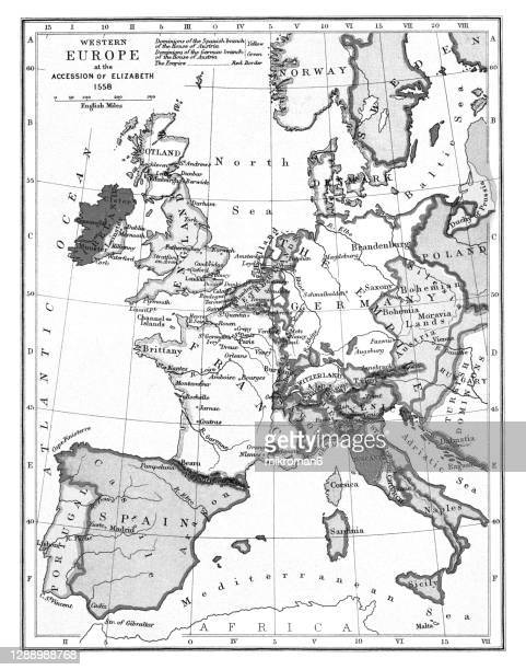 old map of western europe at accession of queen elizabeth i of england (year 1558) - british royal family stock pictures, royalty-free photos & images