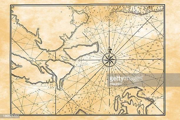 antiguo mapa - isla de antigua fotografías e imágenes de stock