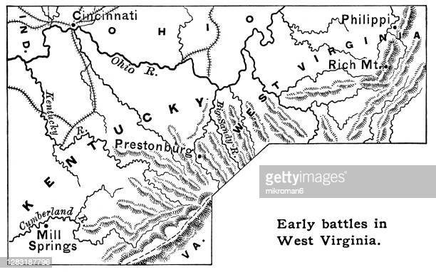 old map shows early battles in west virginia, united states history - protohistory_of_west_virginia stock pictures, royalty-free photos & images