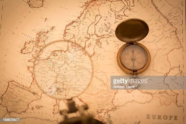 Alte Karte mit Fokus auf Deutschland