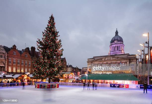 Old Market Square, Nottingham, Nottinghamshire, 2017. General view of Old Market Square from the south-west during a 'Winter Wonderland' event, with...