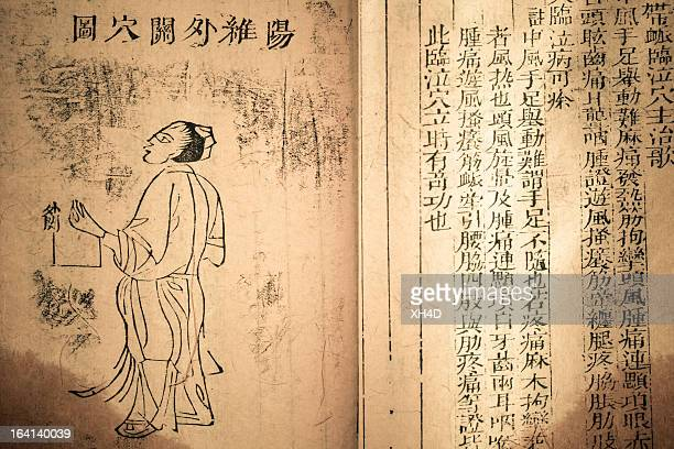 Medicamento antiguo libro de la dinastía Qing