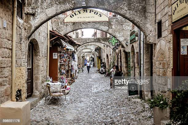 Old medieval streets in Rhodes, Greece