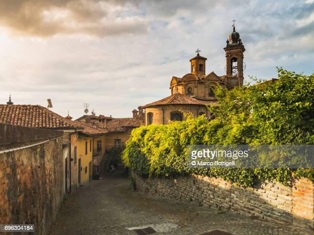 old medieval town of neive. cuneo, italy. - piedmont italy stock pictures, royalty-free photos & images