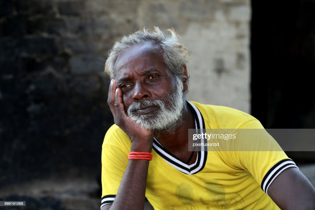 Old men standing portrait : Stock Photo