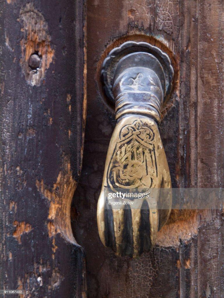 "Old metallic door knob shaped as ""Hand of Fatima"". Damascus, Syria : Stock Photo"