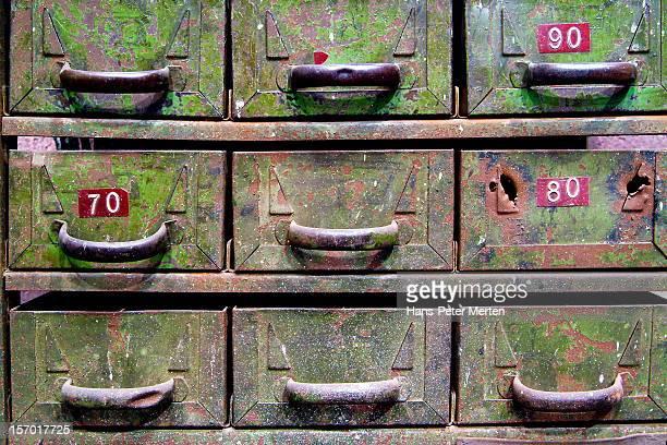 old metallic drawer cabinet