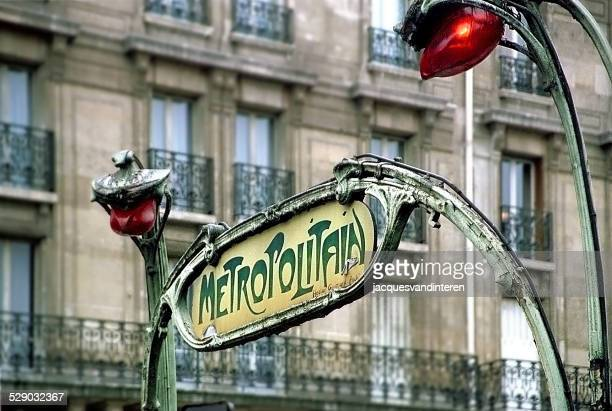 old metro sign in paris, france. - paris metro sign stock pictures, royalty-free photos & images